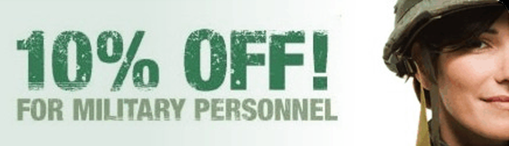 10% OFF! FOR MILITARY PERSONNEL